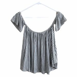 Aran's Den striped off the shoulder flowy shirt